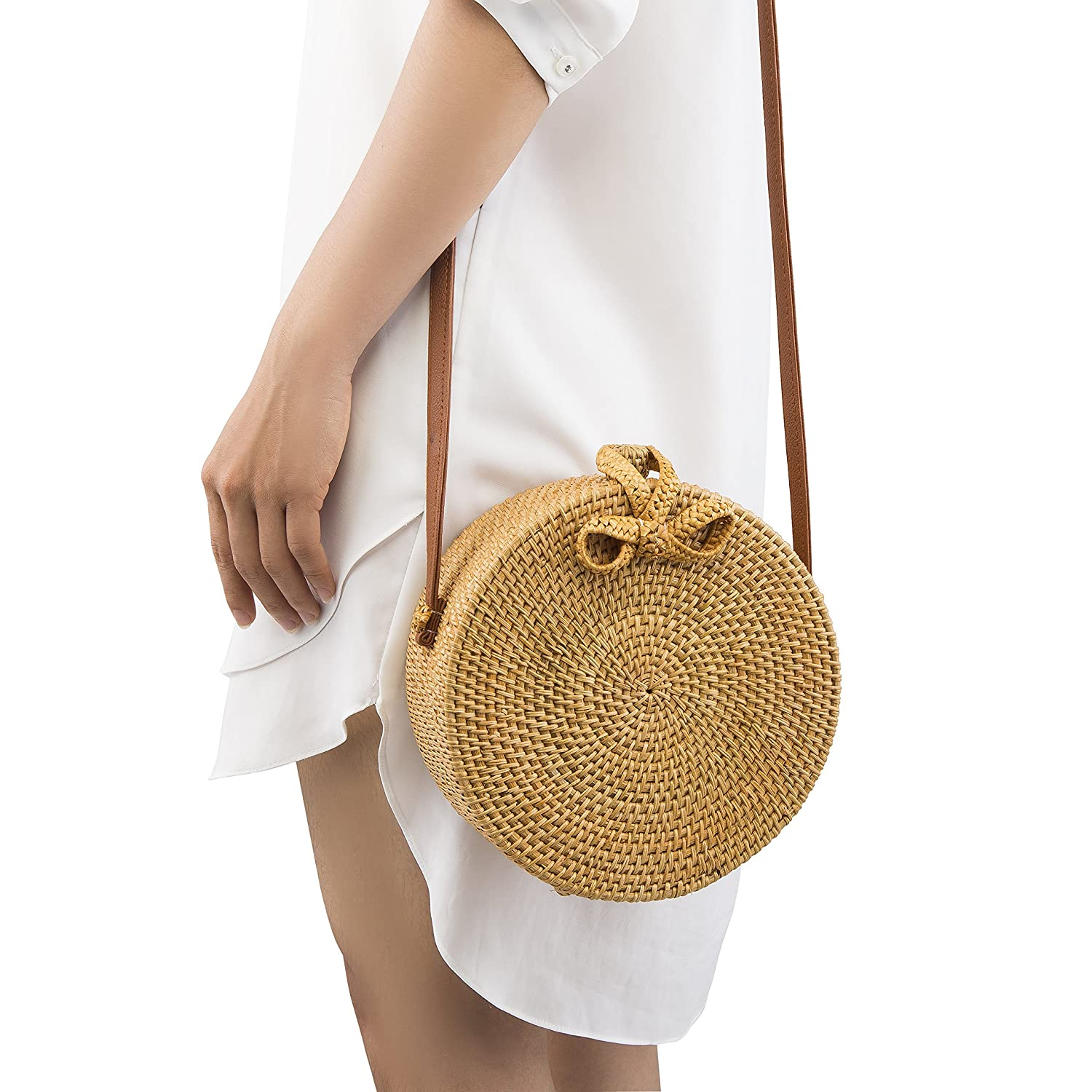 Handwoven Round Rattan Bag Shoulder Leather Straps Natural Chic Hand Naturalneo by Natural Neo