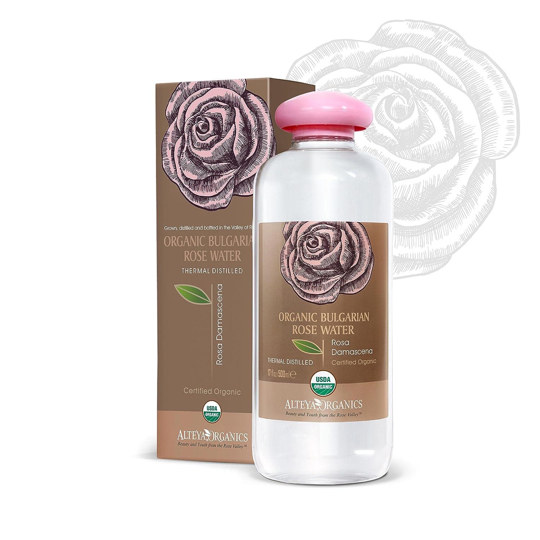 Alteya Organics USDA Organic Bulgarian Rose Water - EXTRA LARGE, 17oz/500ml, Special Thermal-Distilled, From Alteya's Rose Distillery CORW5