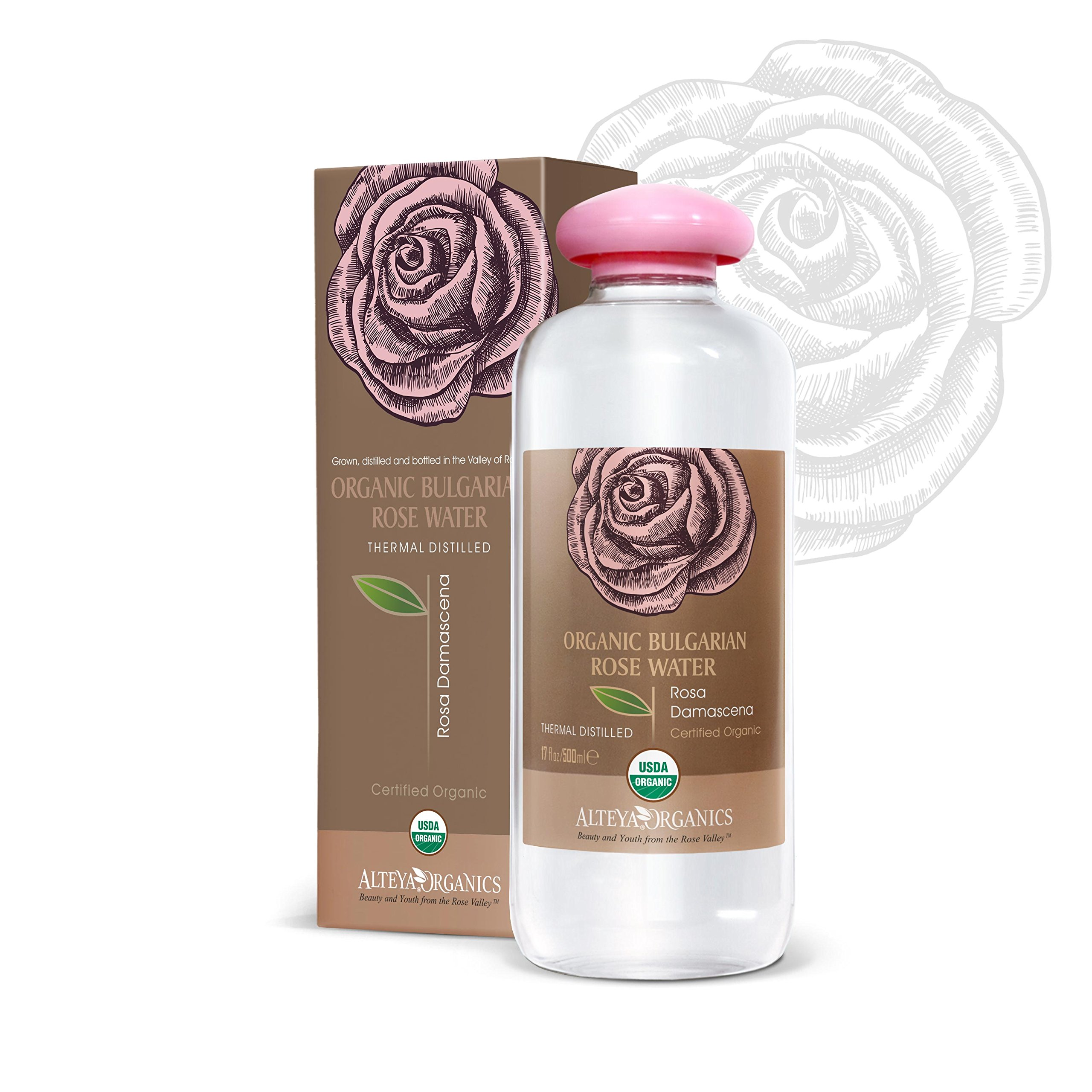 Alteya USDA Organic Bulgarian Rose Water (From New Rose Harvest) - EXTRA LARGE, 17fl oz/500ml, 100% Pure, From Alteya's Bulgarian Rose Fields and Distillery …
