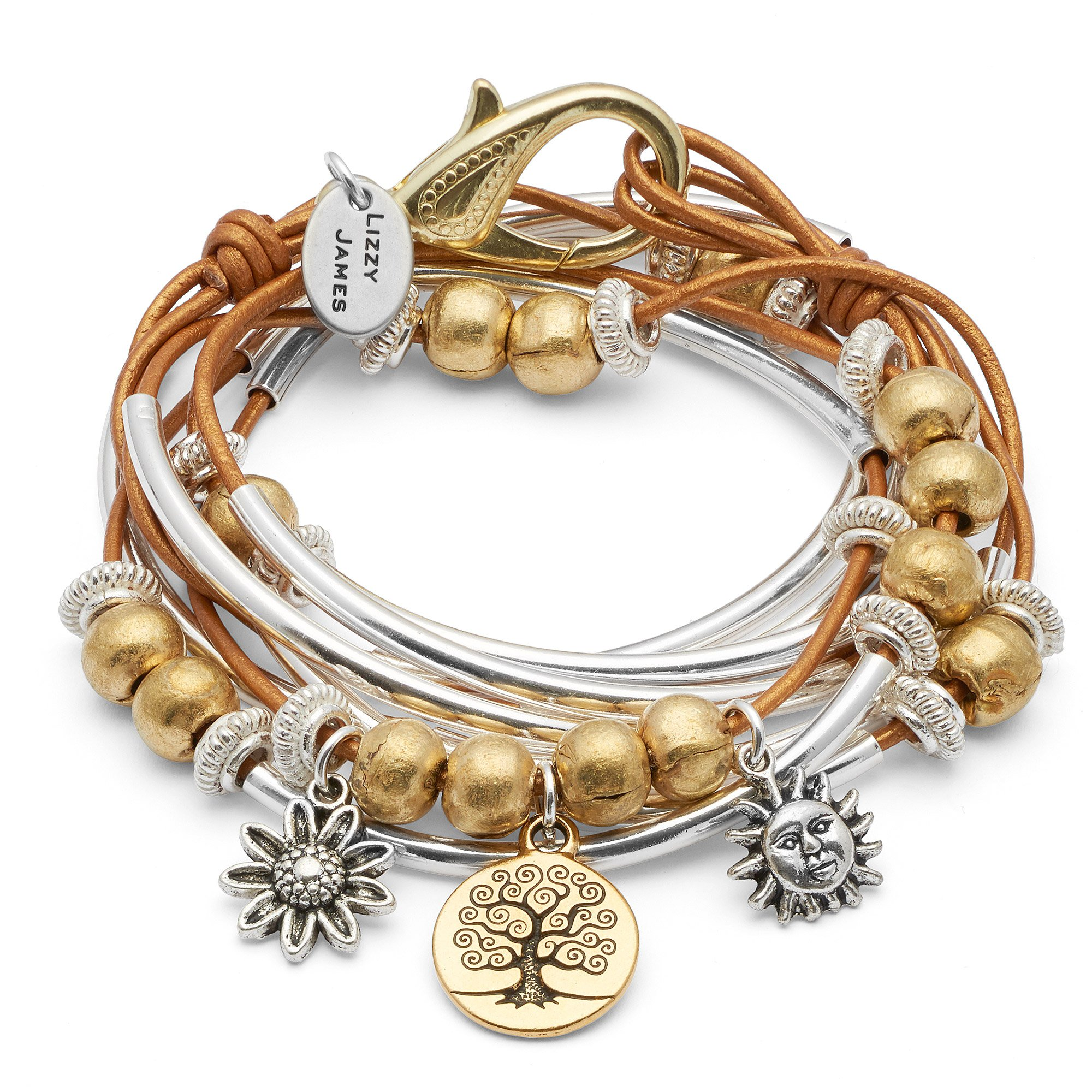 Boho with Gold Tree of Life Charm Trio Silverplate Small Bracelet Necklace with Metallic Golden Sun Leather Wrap by Lizzy James