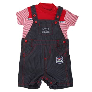 6038aadea3c2 Baby Boys Little Pirate Dungarees And Striped T-Shirt Set (6-12 ...
