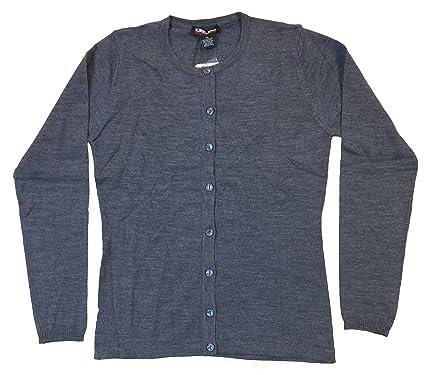 851be9aa10 Kirkland Signature Women s Extra Fine Merino Wool Crew Neck Cardigan Sweater  (Gray) - gray