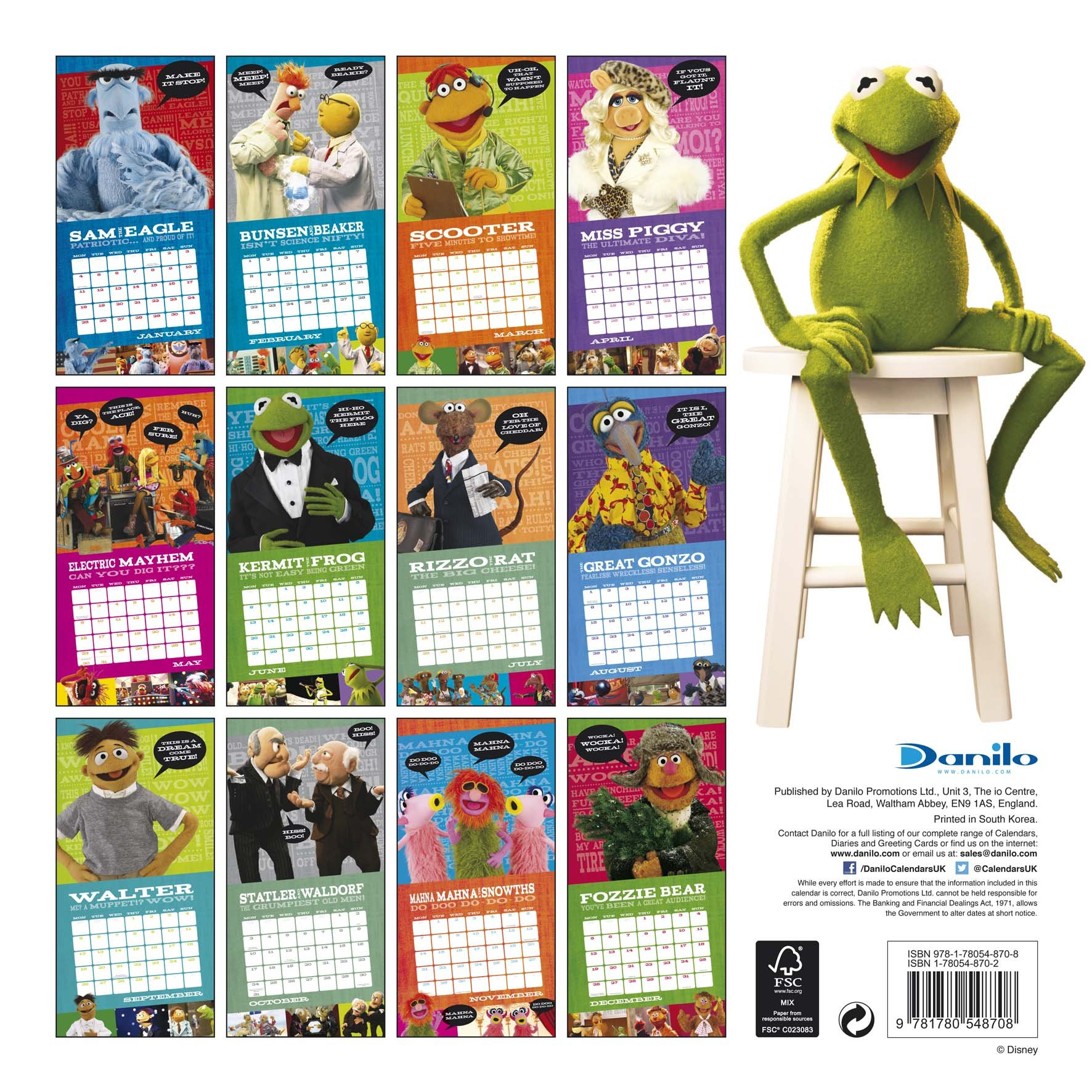 The Official the Muppets 2016 Square Calendar: 9781780548708