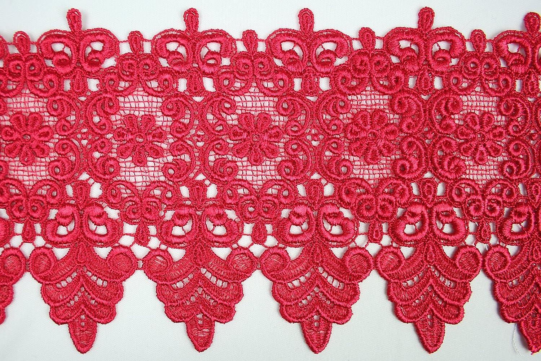 Orange 10 Colors Floral Embroidered Scalloped Venise Guipure Applique Lace Trim