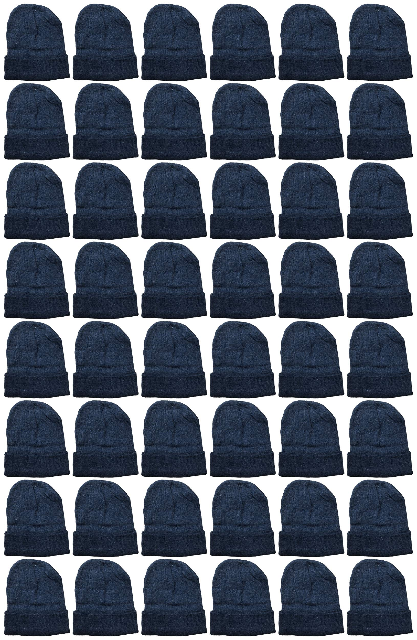 YACHT & SMITH 48 Pack Wholesale Bulk Winter Thermal Beanies Skull Caps, Thermal Gloves Unisex (Solid Black Beanie) by YACHT & SMITH