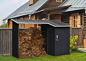 Hanover 2-in-1 Galvanized Steel Multi-Use Shed with Firewood Storage