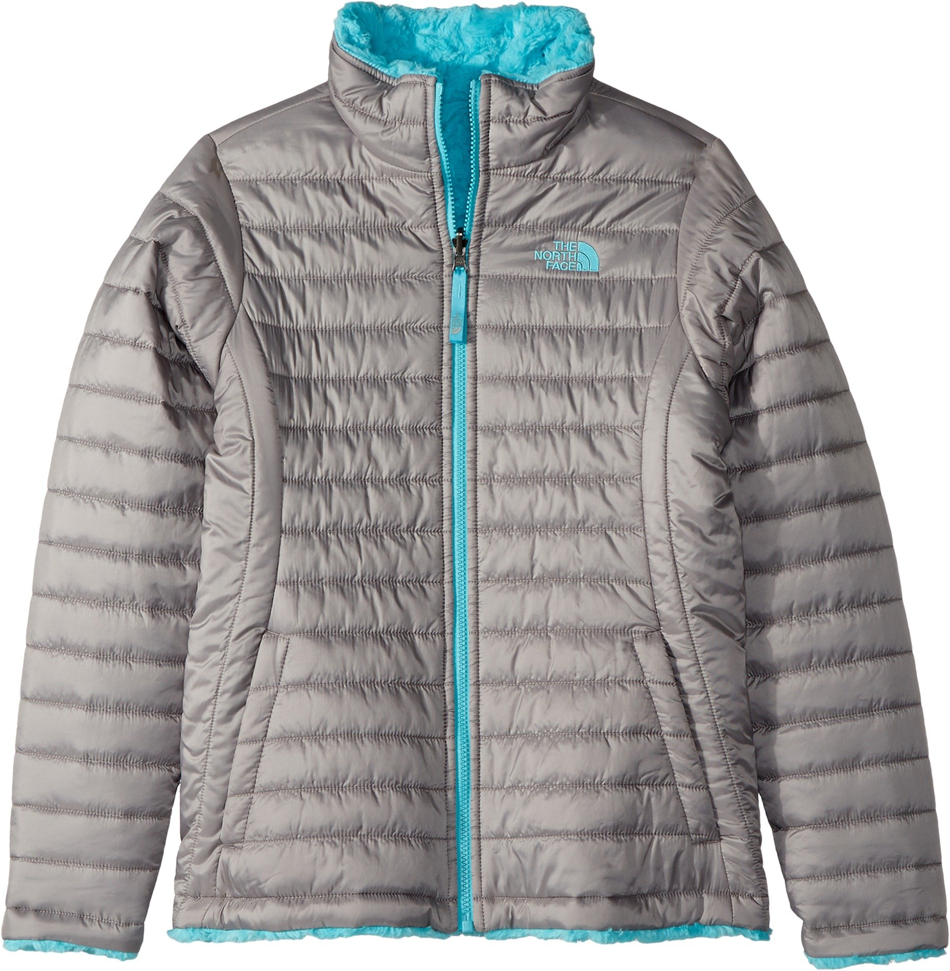 The North Face Kids Girl's Reversible Mossbud Swirl Jacket (Little Kids/Big Kids) Metallic Silver/Blue Curacao Medium by The North Face