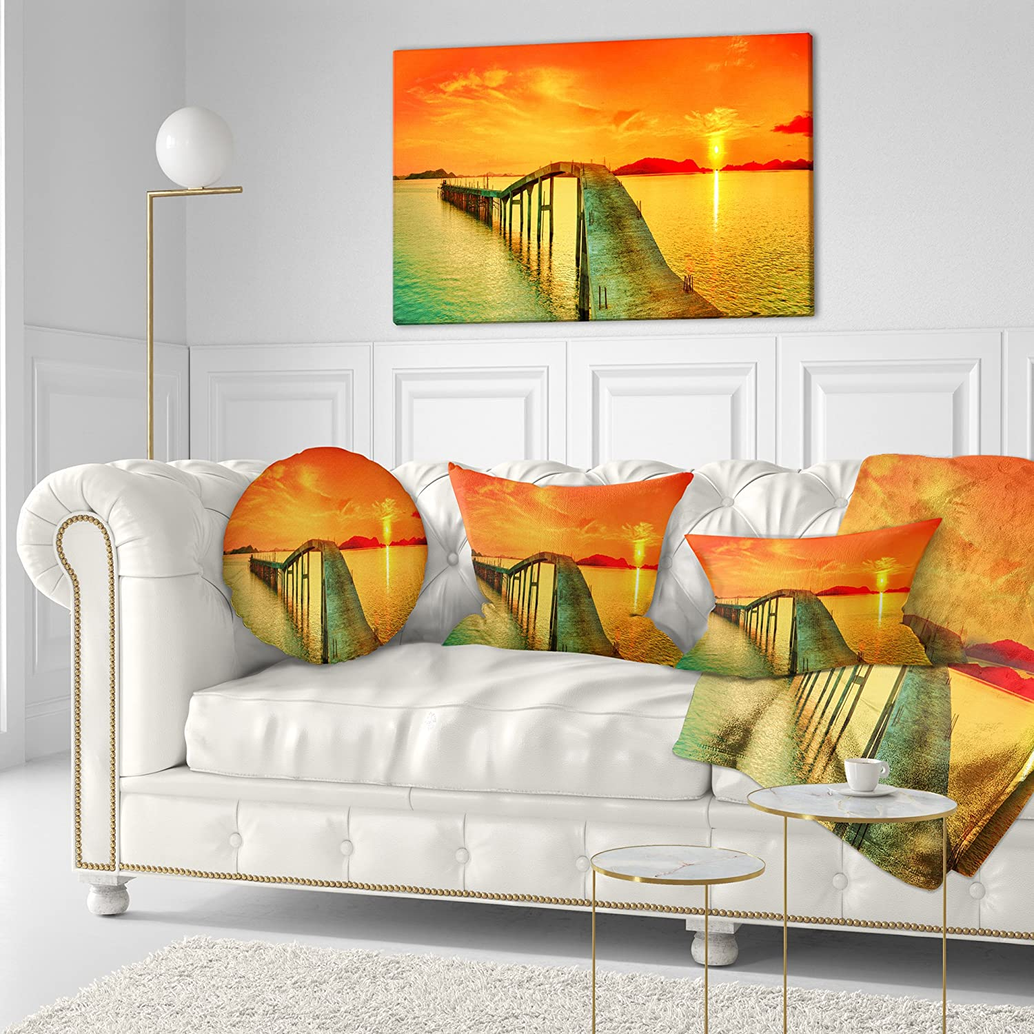 Sofa Throw Pillow 16 Designart CU6908-16-16-C Fabulous Sunset Panorama Photography Seascape Round Cushion Cover for Living Room