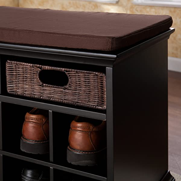 Southern Enterprises Chelmsford Entryway Shoe Storage Bench, Black Finish