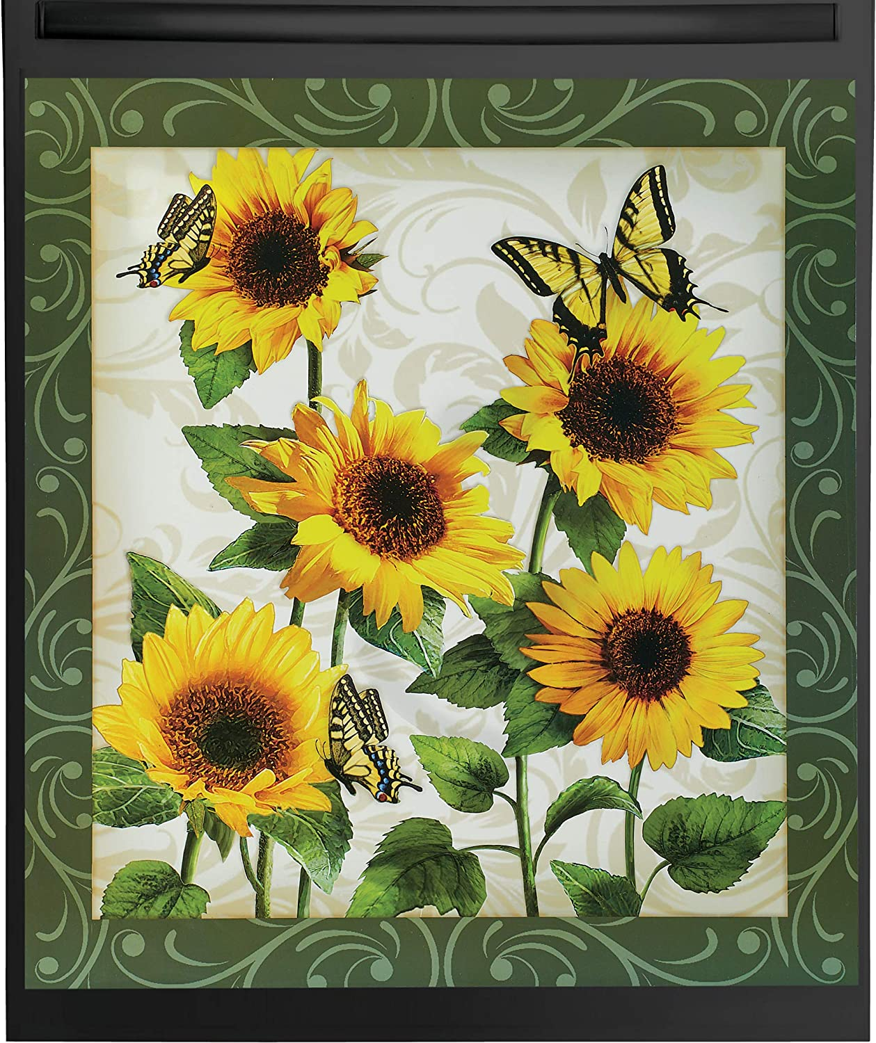 """Beautiful Sunflower Garden with Butterflies Kitchen Dishwasher Magnet - For Metal Washers - Decorative Floral Cover for all Seasons - 23"""" L x 26"""" H"""