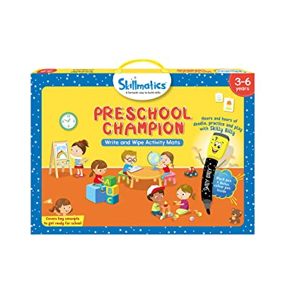 Skillmatics Educational Game: Preschool Champion (3-6 Years) | Erasable and Reusable Activity Mats with 2 Dry Erase Markers | Learning Tools for Boys and Girls 3, 4, 5, 6 Years: Toys & Games