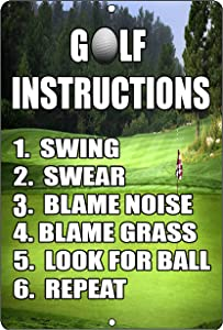 Rogue River Tactical Funny Golf Instructions Metal Tin Sign Golf Wall Decor Man Cave Bar Golfer Ball