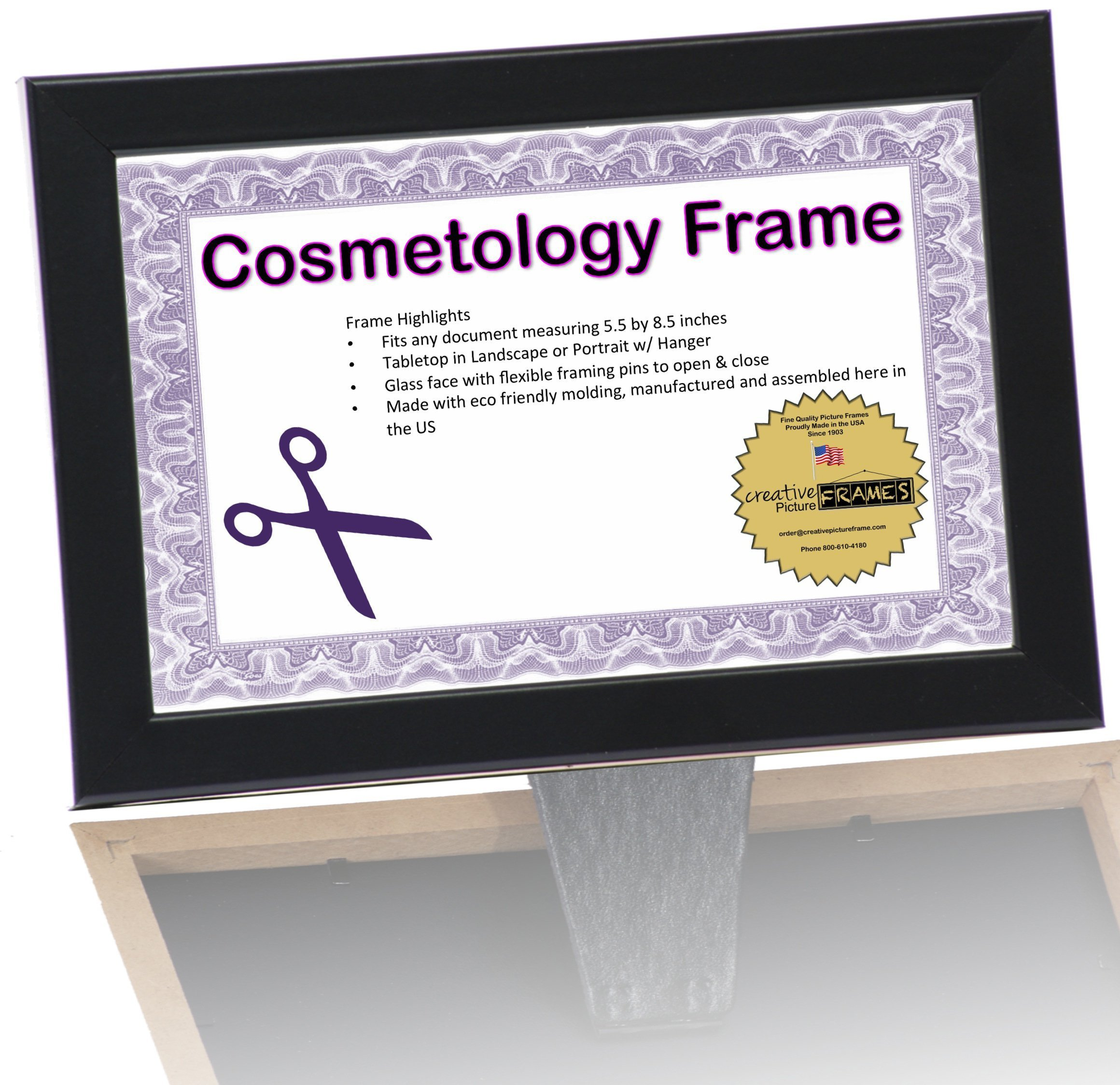 CreativePF- 8.5 by 5.5 inch Black License Frames for Cosmetology Professionals - State Board License Holder Displays Certificates, Tax License and more - Self Standing with Hanger