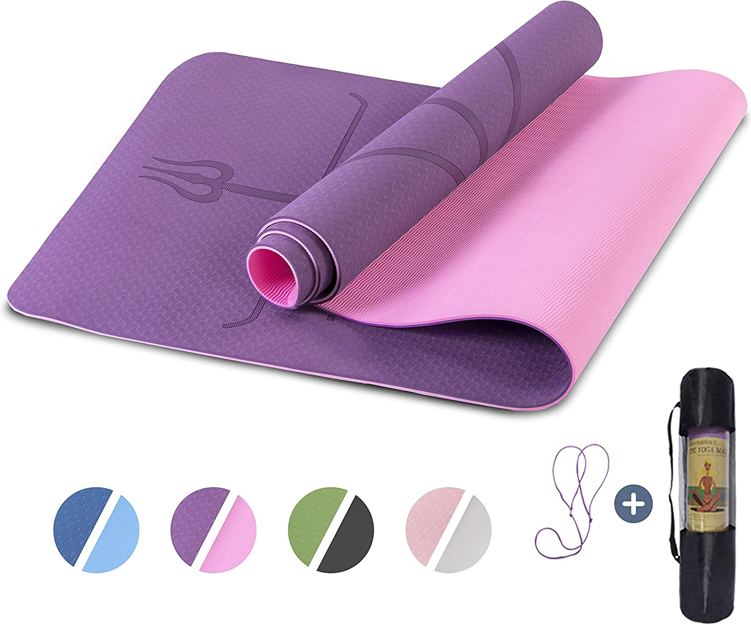 """Yoga Mat Non Slip, Pilates Fitness Mats with Alignment Marks, Eco Friendly, Anti-Tear Yoga Mats for Women, 1/4"""" Exercise Mats for Home Workout with Carrying Strap"""