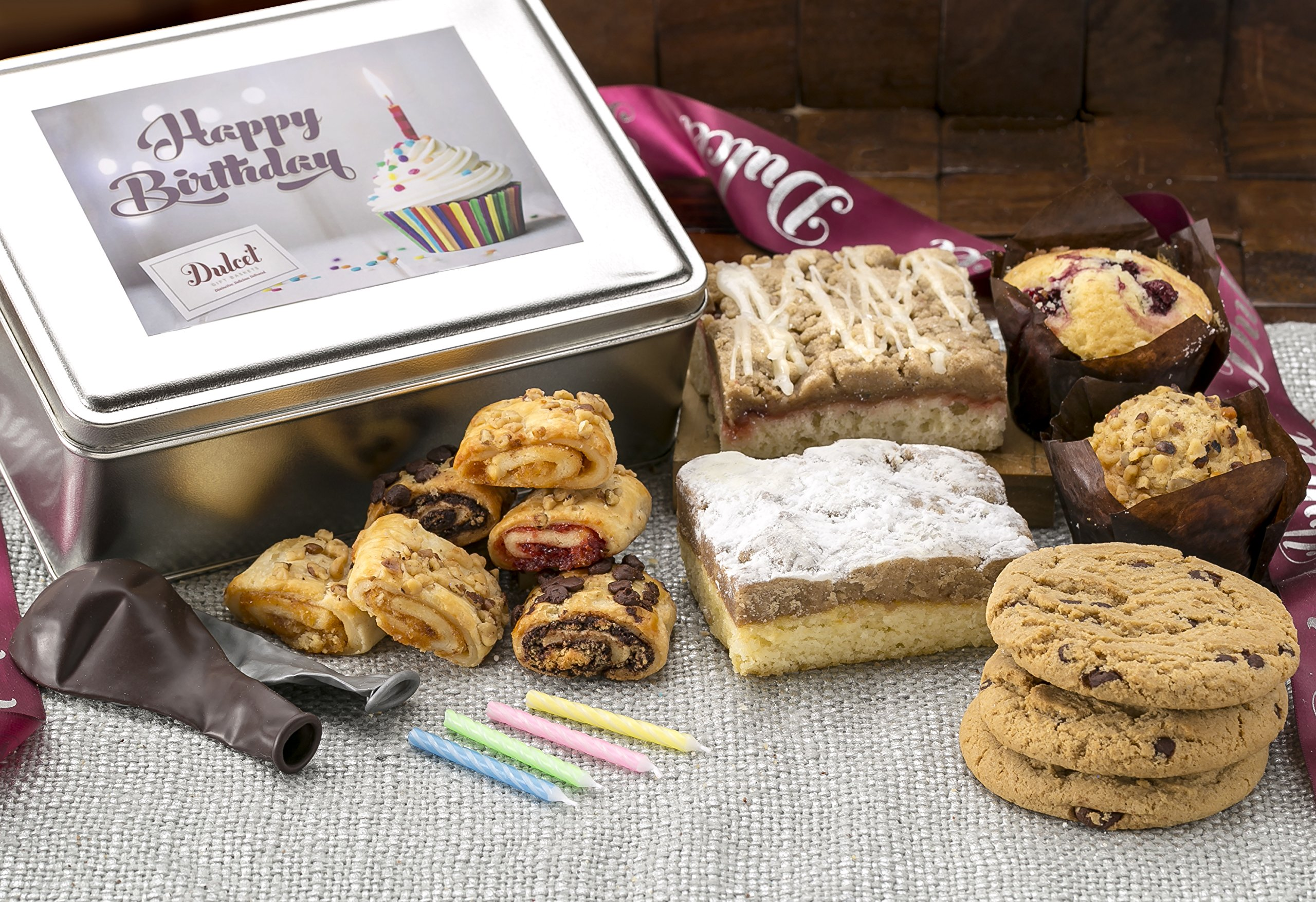 Dulcet Gift Baskets Happy Birthday Deluxe Food Gift Box, Includes Fresh Baked Raspberry and Old Fashioned Crumb Cake, Ideal Present For Women, Family & Friends.