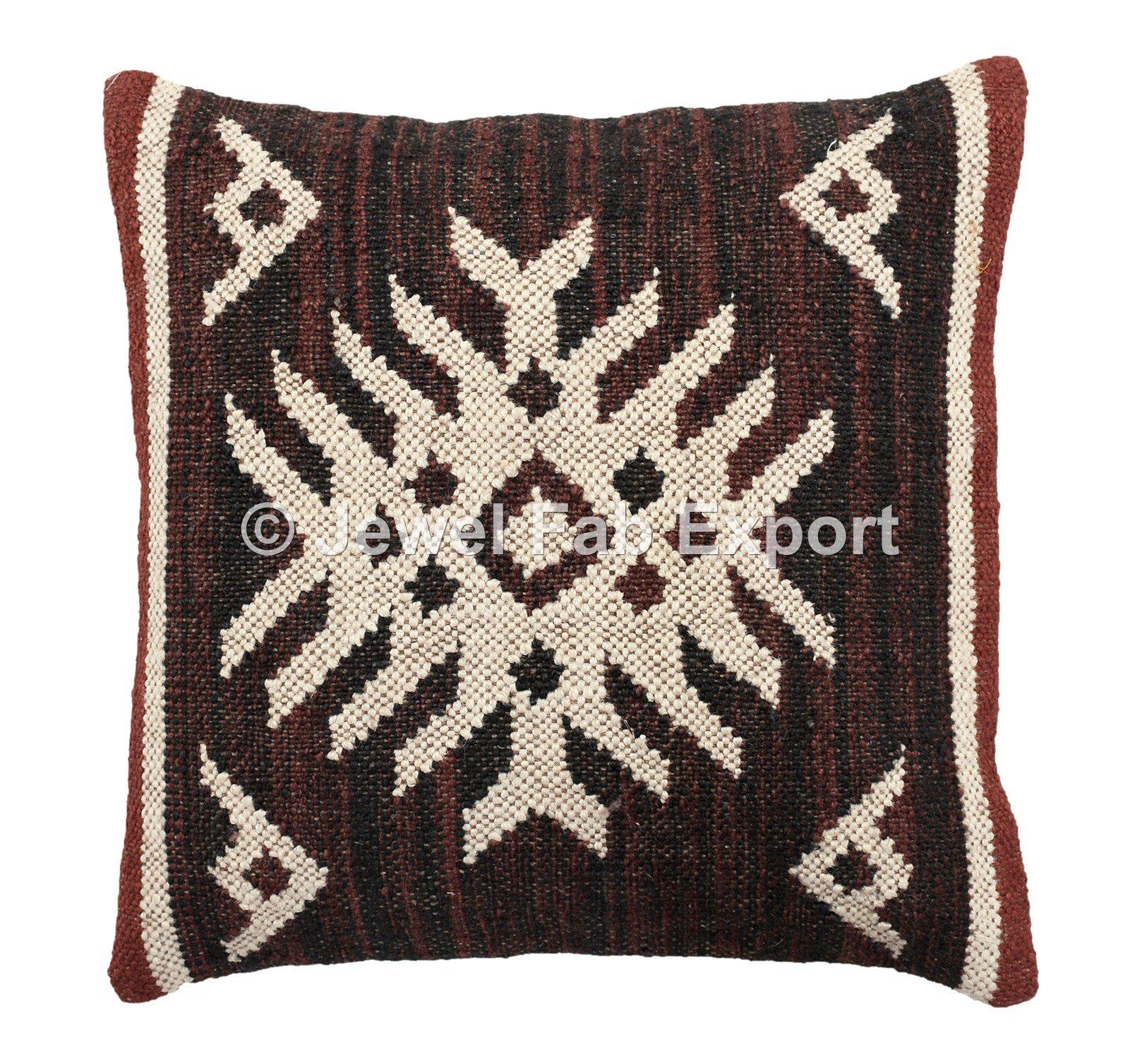 Set Of 5 Indian Decorative Jute Cushions,18x18'' Boho Pillow Shams, Handwoven Jute Rug Pillow Throw Cushions ,Kilim Cushion Cover For Living Room Brown Jute Kilim