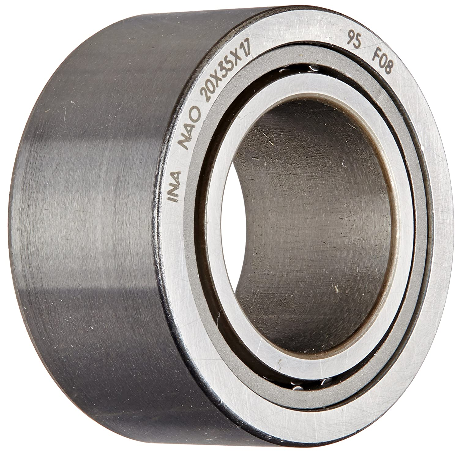 INA NAO20X35X17 Needle Roller Bearing, With Inner Ring, Steel Cage, Open End, Metric, 20mm ID, 35mm OD, 17mm Width, 18000rpm Maximum Rotational Speed