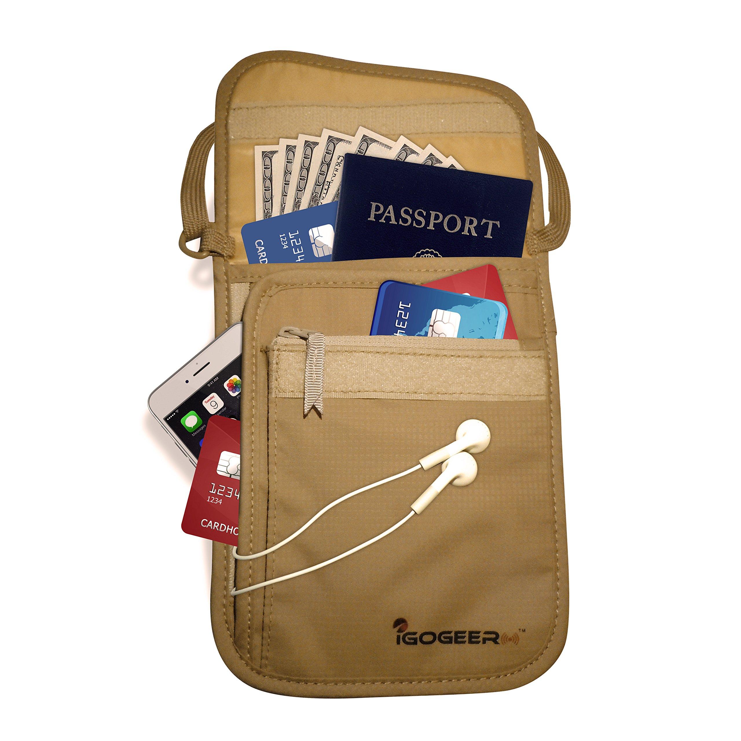 IGOGEER Neck Wallet Deluxe w/RFID - Neck Pouch Travel Wallet Passport Holder