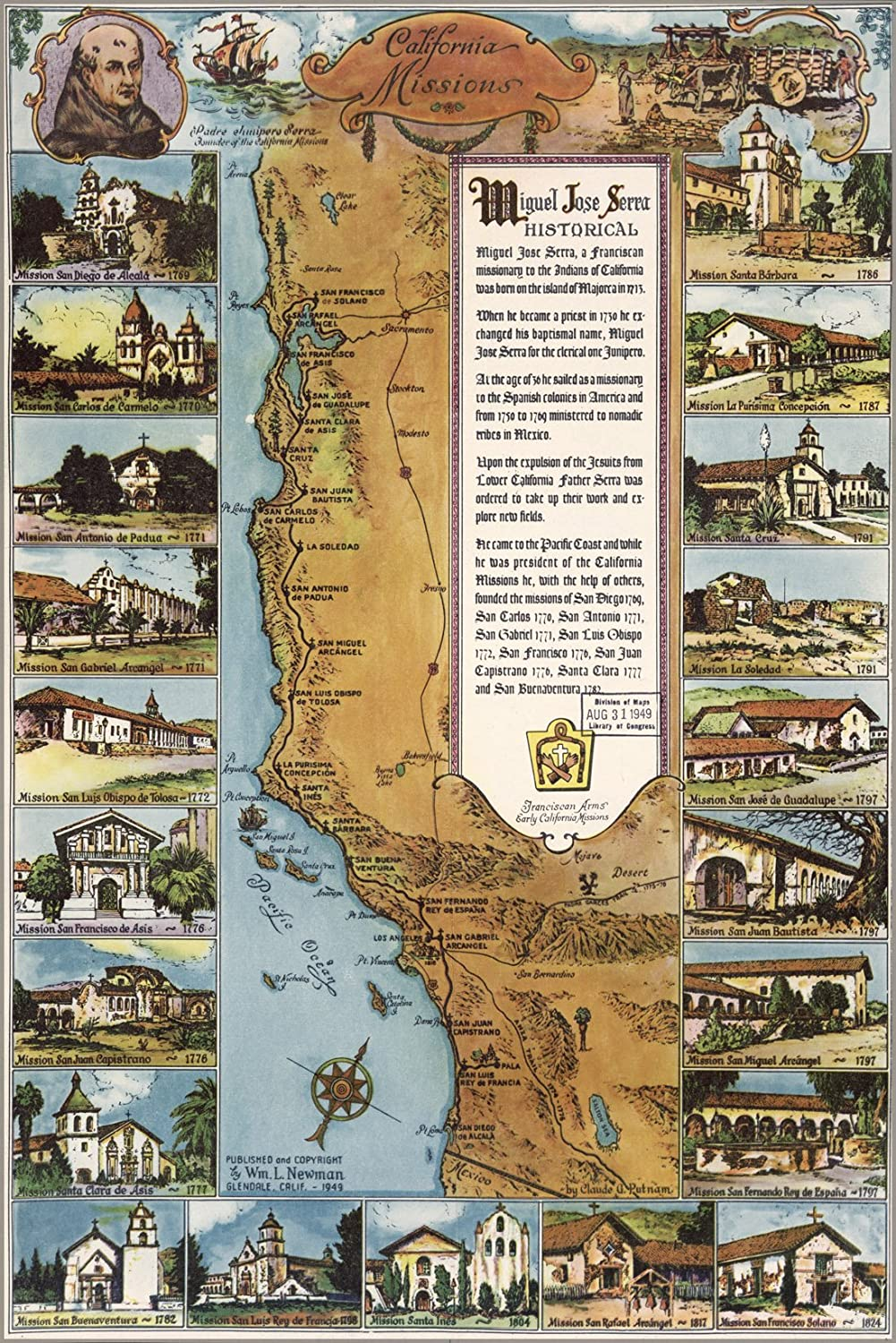 Amazoncom X Poster Map Of California Missions Antique - California missions map
