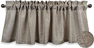 Aiking Home (Pack of 1) Faux Linen Valance for Windows with 2.5 inch Rod Pocket - Unlined - Semi Sheer, Perfect for Kitchen Valance, Bedroom & Living Room Window Treatment (56x16 inch, Wheat)