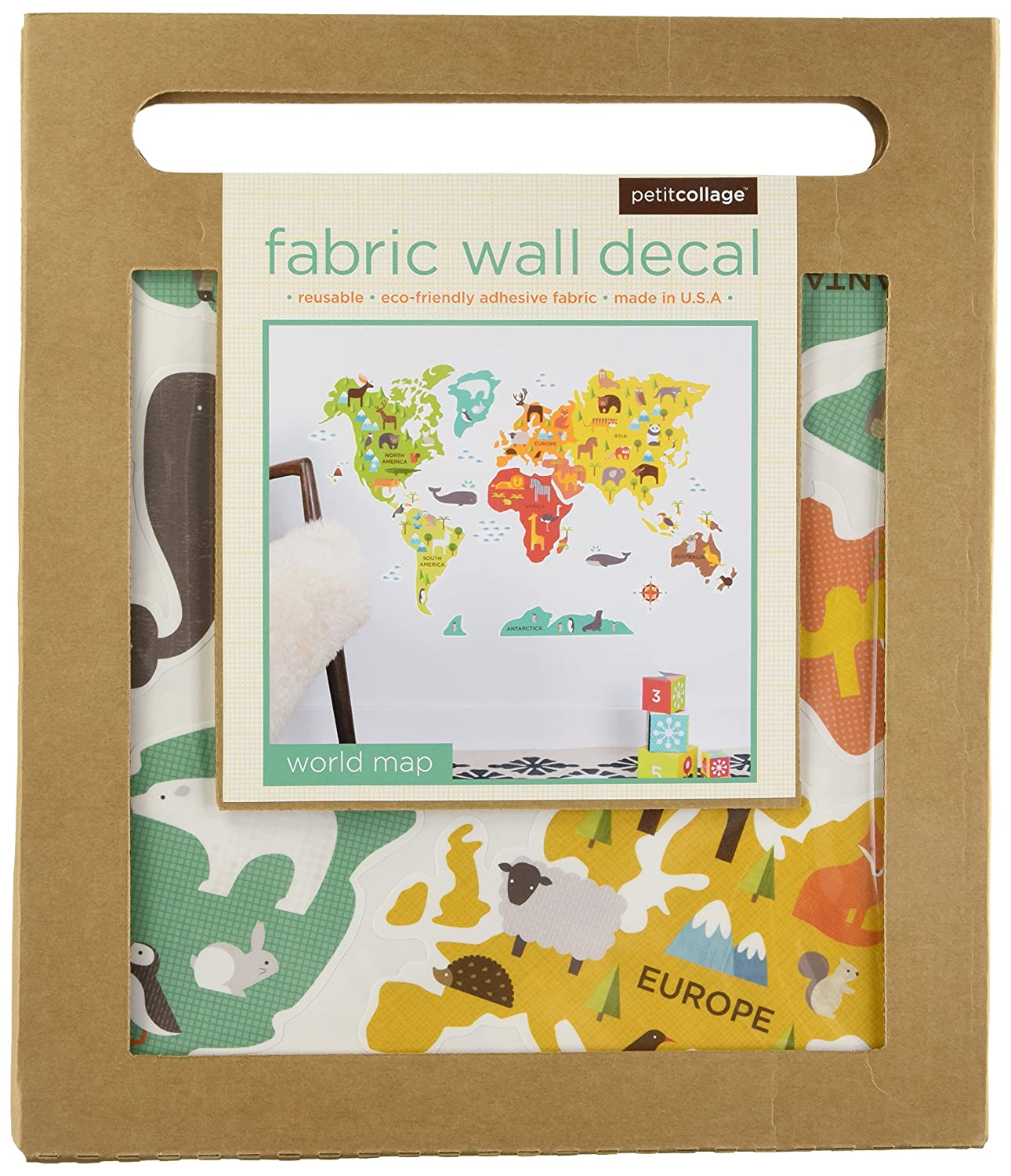 Amazon petit collage wall decal world map baby gumiabroncs Image collections