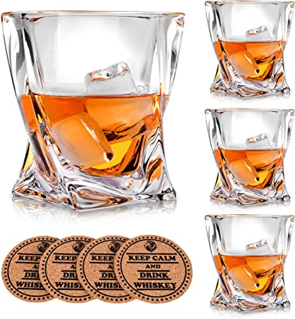Amazon Com Vaci Glass Crystal Whiskey Glasses Set Of 4 With 4 Drink Coasters Crystal Scotch Glass Malt Or Bourbon Glassware Set Mixed Drinkware Sets