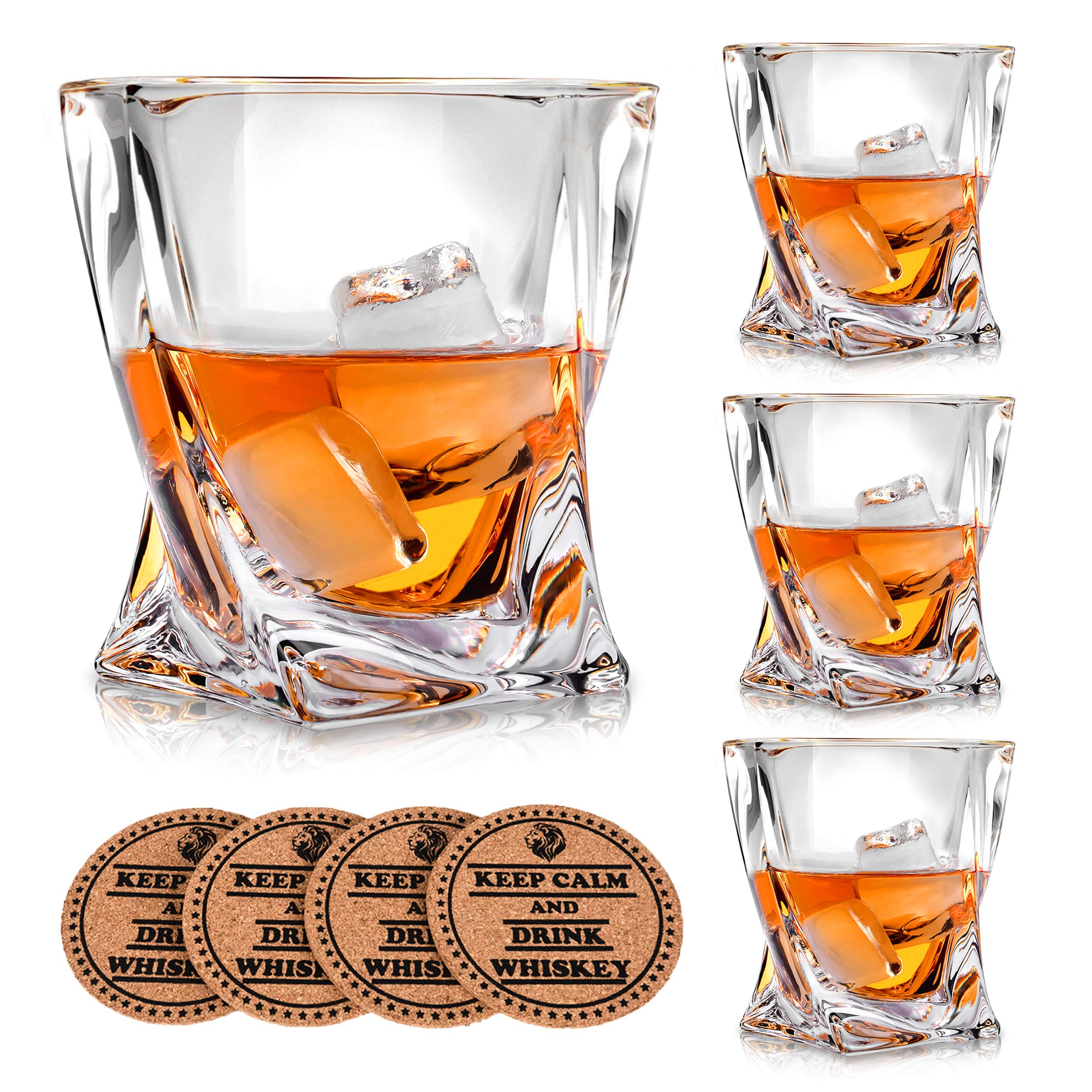 VACI GLASS Crystal Whiskey Glasses - Set of 4 - with 4 Drink Coasters, Crystal Scotch Glass, Malt or Bourbon, Glassware Set