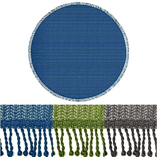 Casa Pura Non Slip Round Tablecloth Cover, Wonderland, Floral Design   Blue  (