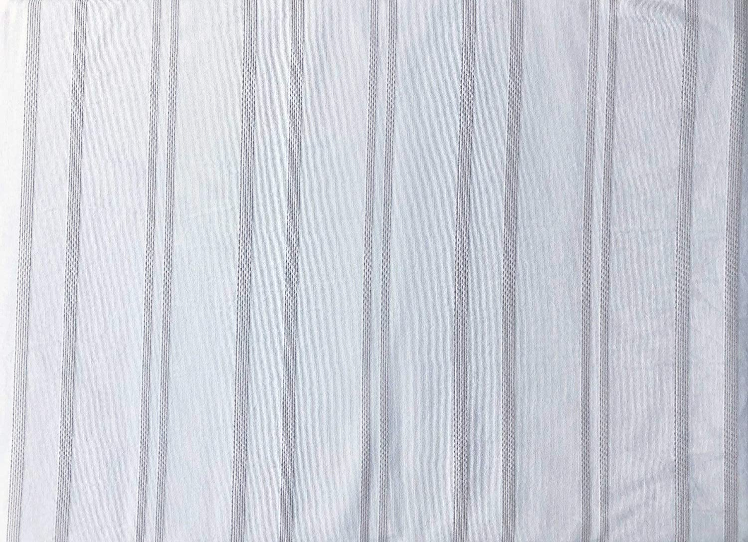 Inup Portugal 3pc Duvet Cover Set Textured Sewn Stripes of Varying Widths Taupe Thread on White Comforter Quilt Cover 100% Cotton Luxury (Queen)