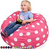 Oversized Bean Bag Chair in Candy Pink & White Polka Dots - Machine Washable Big Soft Comfort Cover & Memory Foam Filler - Cozy Lounger & Bed - Kids & Teens Love This Huge Sack - Panda Sleep Furniture