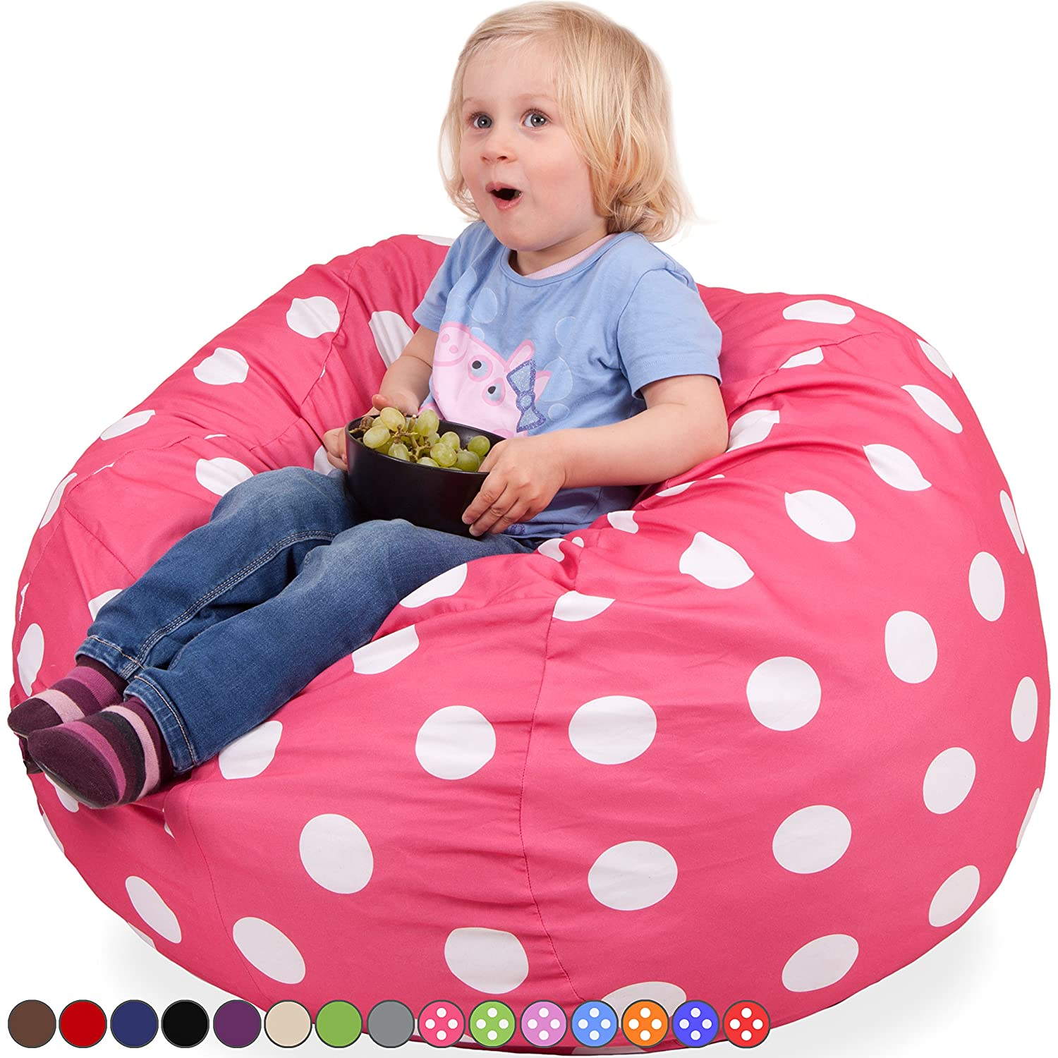 Amazon Oversized Bean Bag Chair in Candy Pink & White Polka