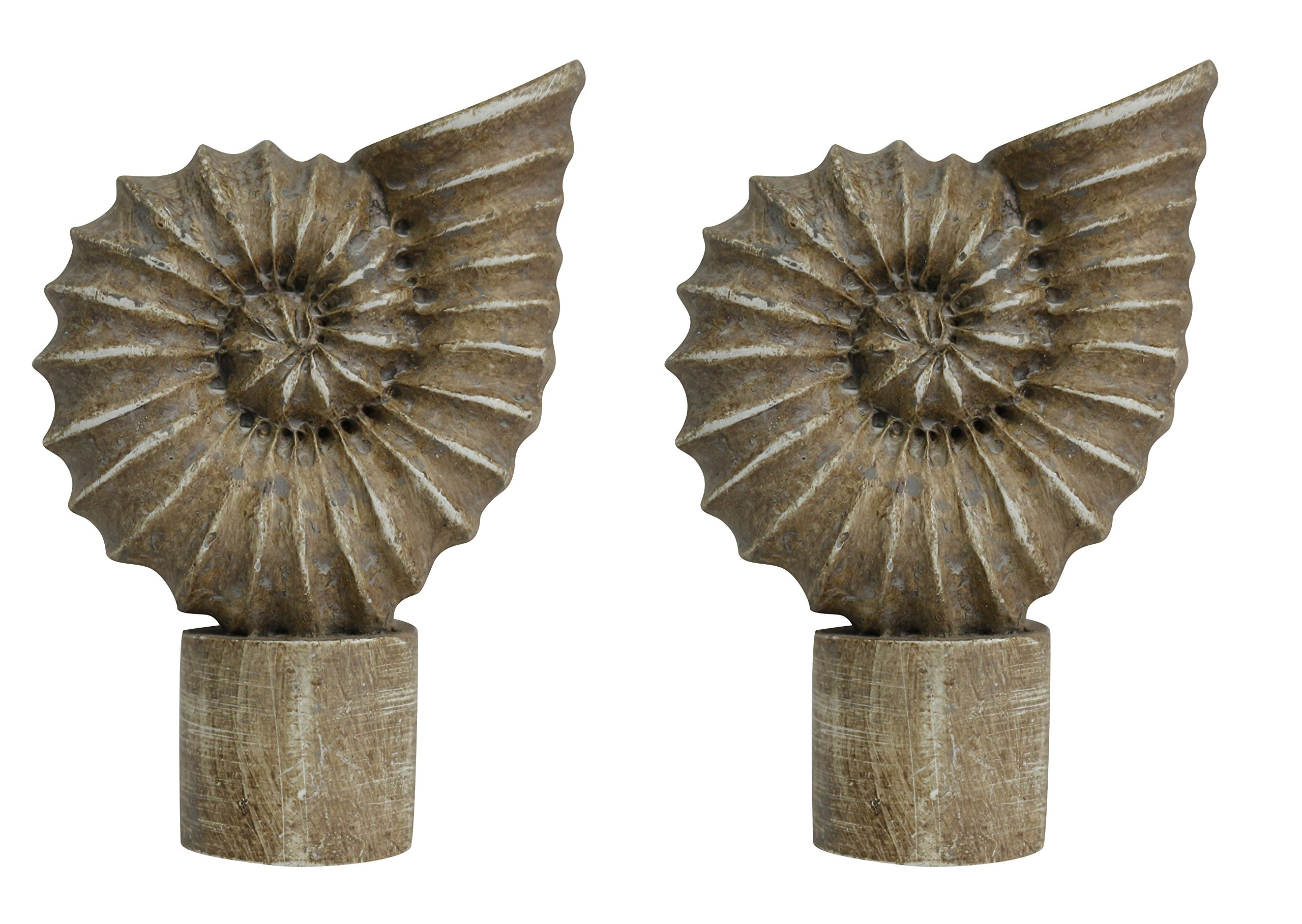 Urbanest Set of 2 Seashell Finial, 2 5/8-inch Tall, Cottage