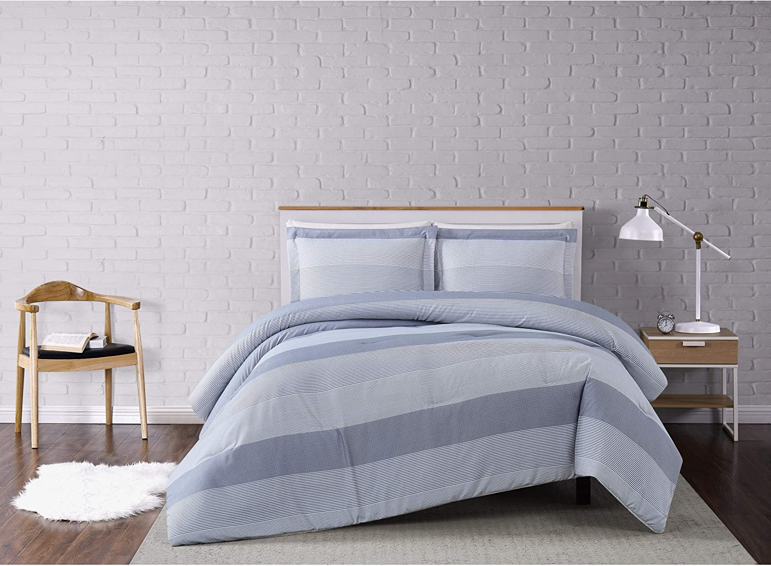 Truly Soft Everyday Truly Soft Multi Stripe Comforter Set King Grey Home Kitchen