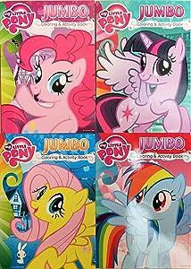 My Little Pony Jumbo Coloring & Activity Book 4 Pack - Pinkie Pie, Twilight Sparkle, Rainbow Dash & Fluttershty