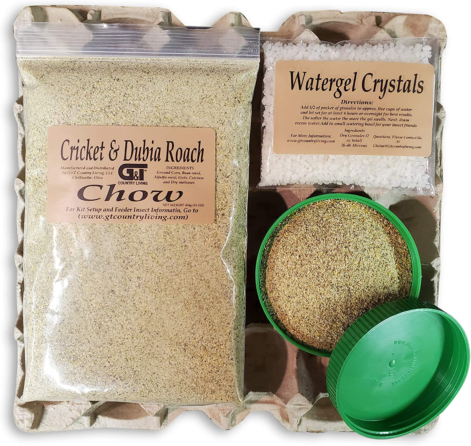 Dubia Roach Colony Starter Kit - Includes 6 Egg Flats, Premium Dubia Roach Chow Cricket Food (1 lb), 1-(2 oz Packet) Water Gel Granules (2 oz Total), 2- Lids| Raise Dubia Roaches Crickets