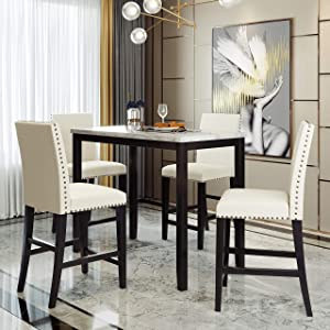 LZ LEISURE ZONE 5 Piece Counter Height Dining Table Set, Faux Marble Modern Kitchen Table with Chairs for Home or Restaurant