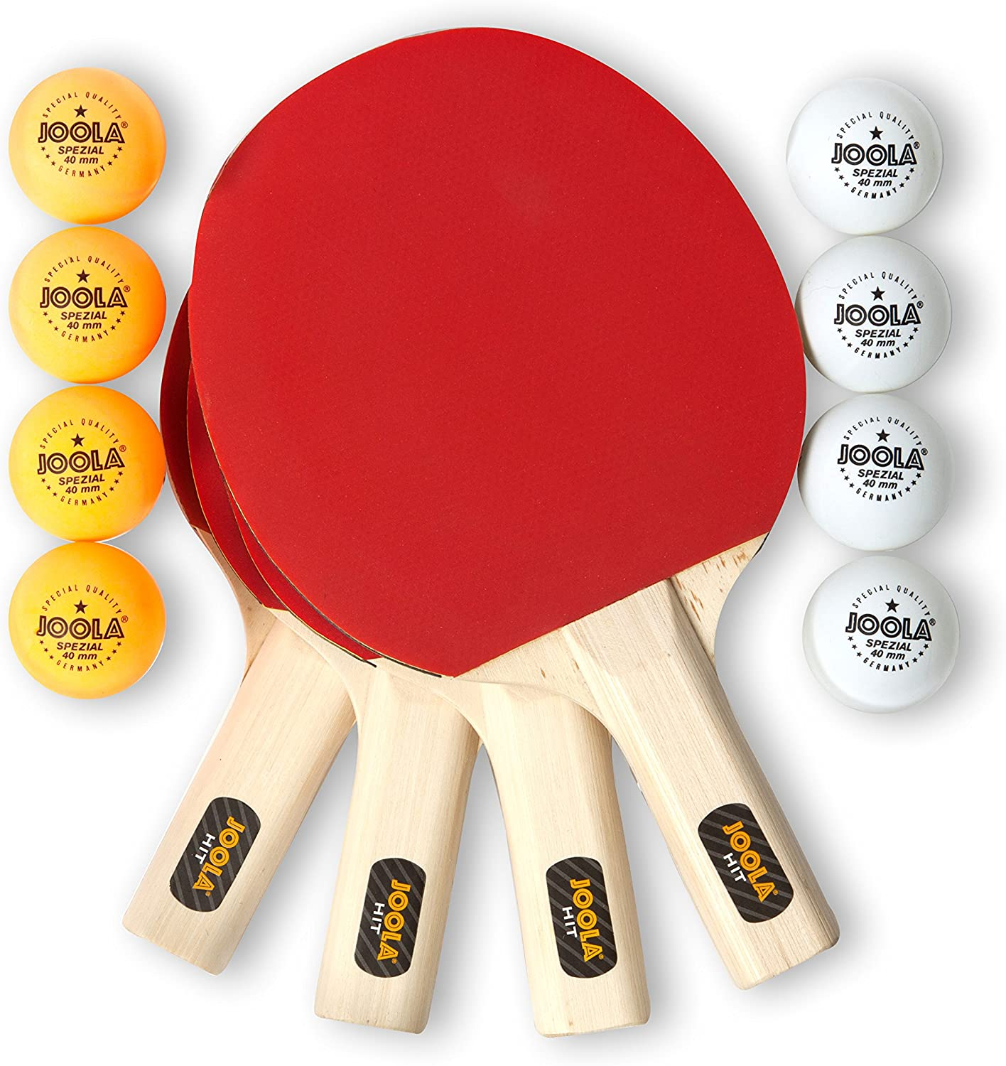 JOOLA All-in-One Indoor Table Tennis Hit Set (Bundle Includes 4 Rackets/Paddles, 8 Balls, Carrying Case), Multi, One Size (59152) : Beginner Table Tennis Rackets : Sports & Outdoors