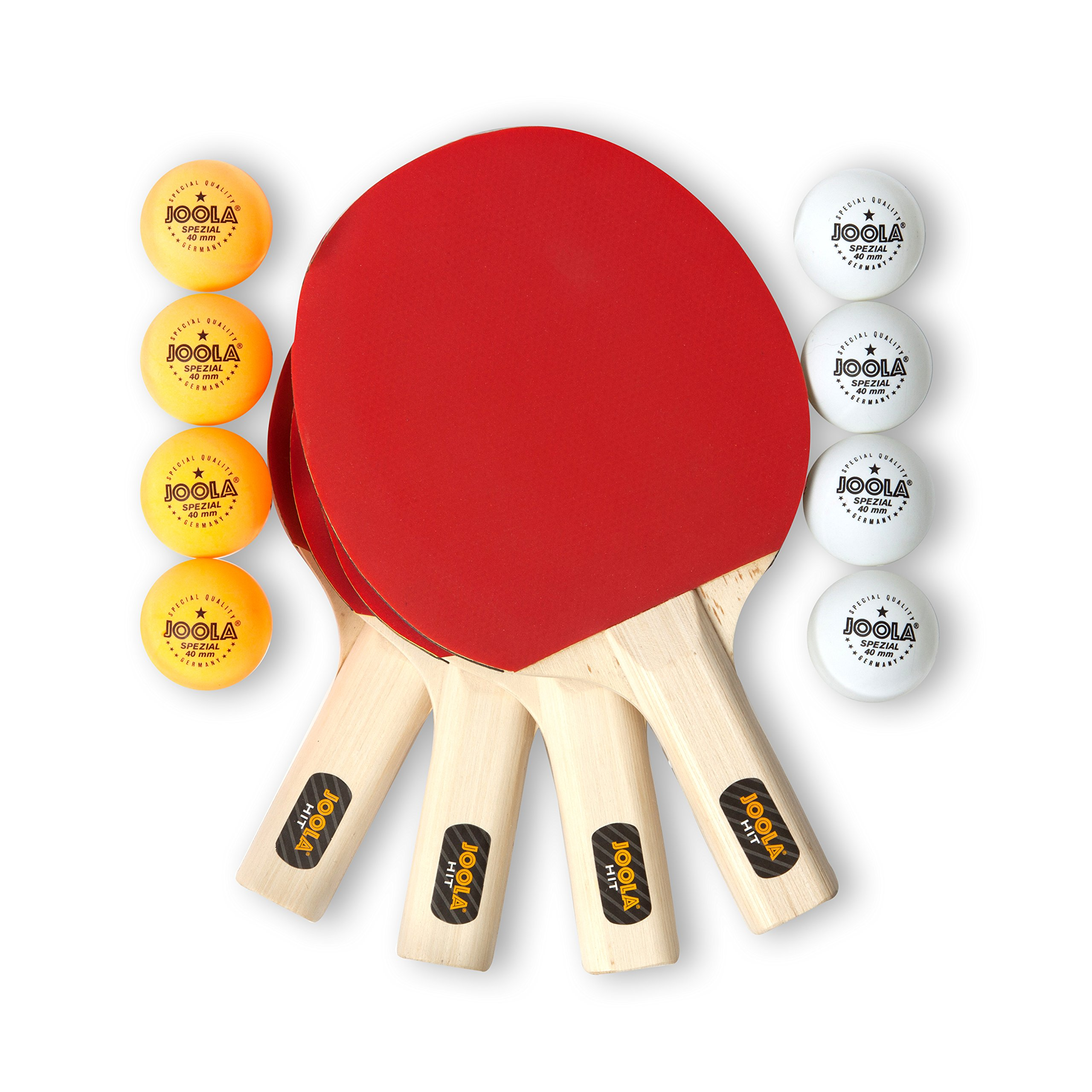 JOOLA Hit Set Bundle - Ping Pong Set for 4 Players - Includes 4 Pack Premium Ping Pong Paddles, 8 Table Tennis Balls, 1 Carrying Case - Each Racket is Designed to Optimize Spin and Control by JOOLA