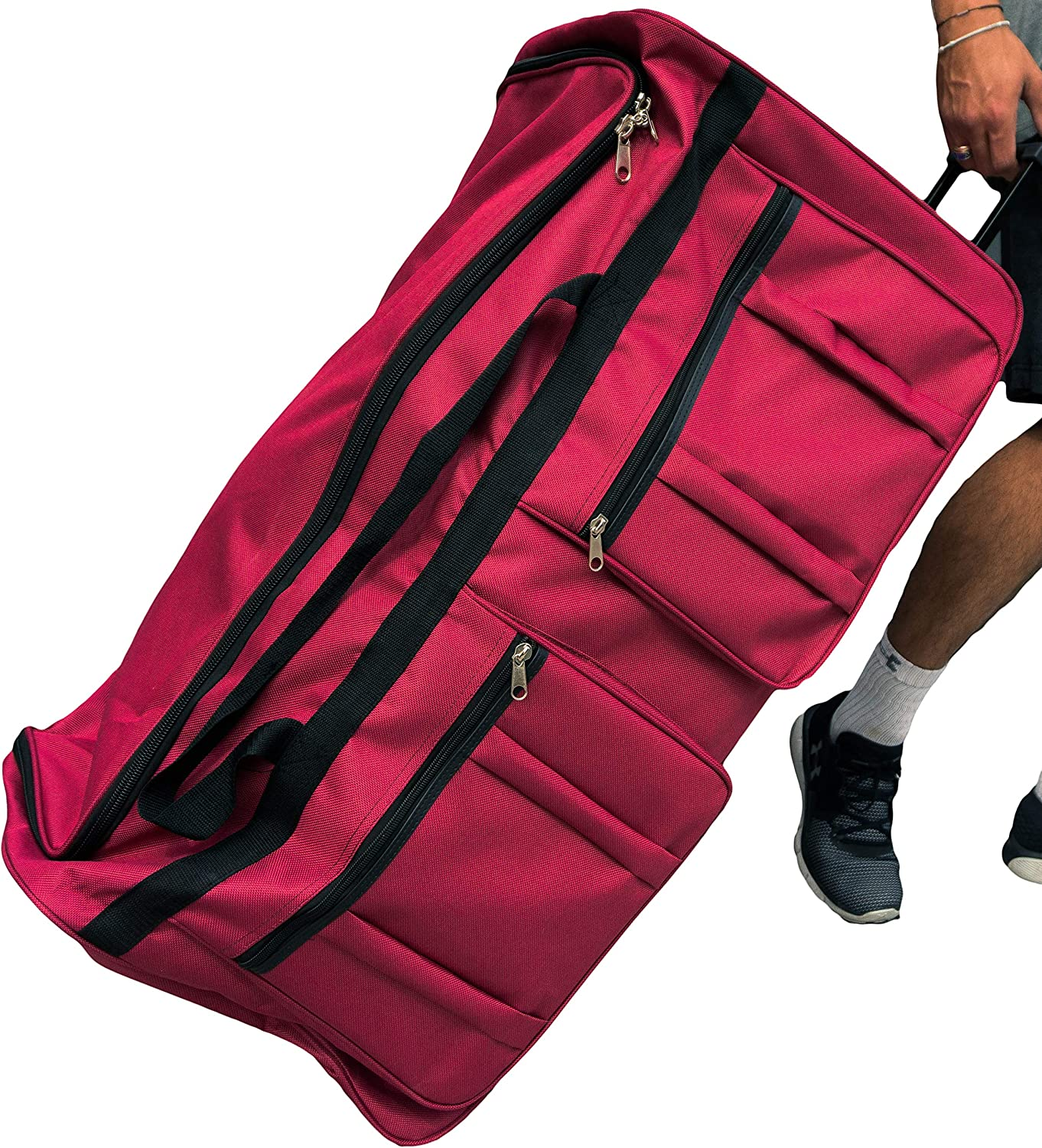 Gothamite 36-inch Rolling Duffle Bag with Wheels, Luggage Bag, Hockey Bag, XL Duffle Bag With Rollers, Heavy Duty Fuchsia