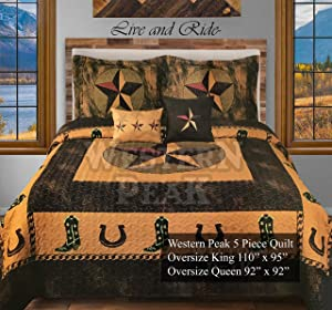 Western Peak 5 Pc Luxury Western Texas Star Cowboy Horse Cabin Lodge Quilt Bedspread Oversize Comforter (Gold Cowboy, Queen)
