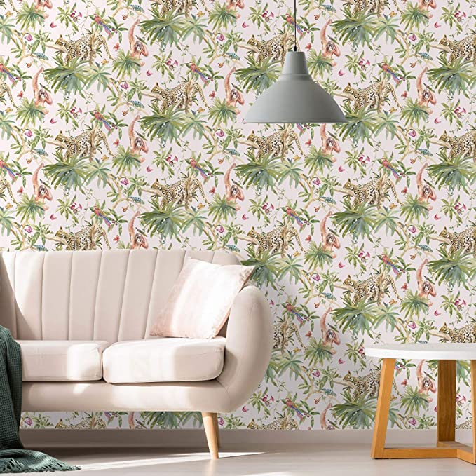 Holden Decor Fantasia Jungle Animals Light Pink Wallpaper 90691 Orangutan Leaf