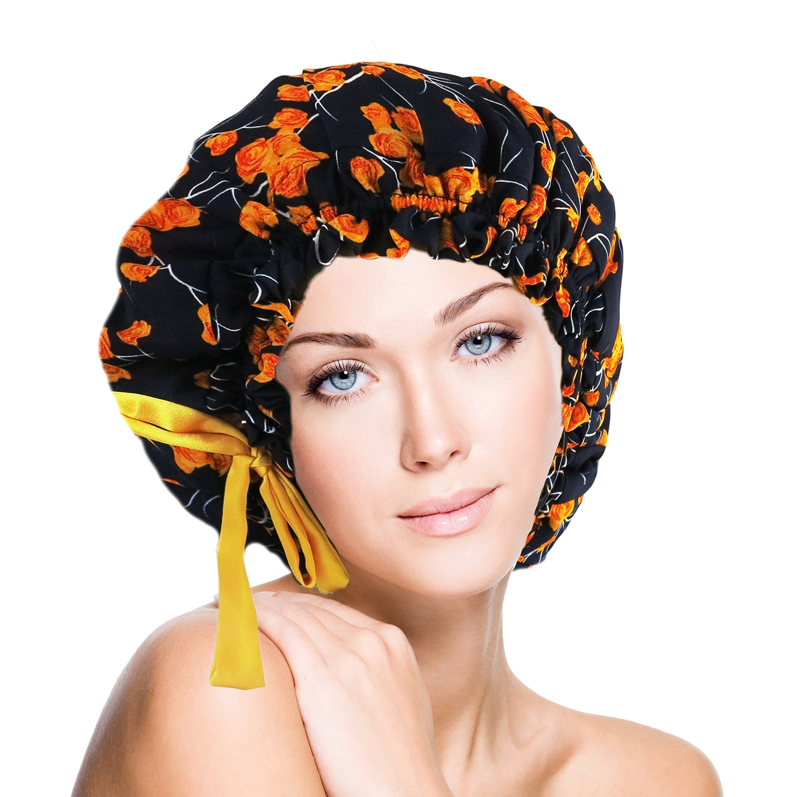 Silk Cap Sleep Bonnet Double Layers Fully Adjustable Roses Fits SMALL- X LARGE- HANDMADE in USA-Ship out within 12 hours
