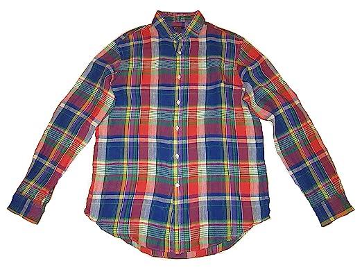 6bddf294a Polo Ralph Lauren Men s Plaid Linen Shirt (Large) at Amazon Men s ...