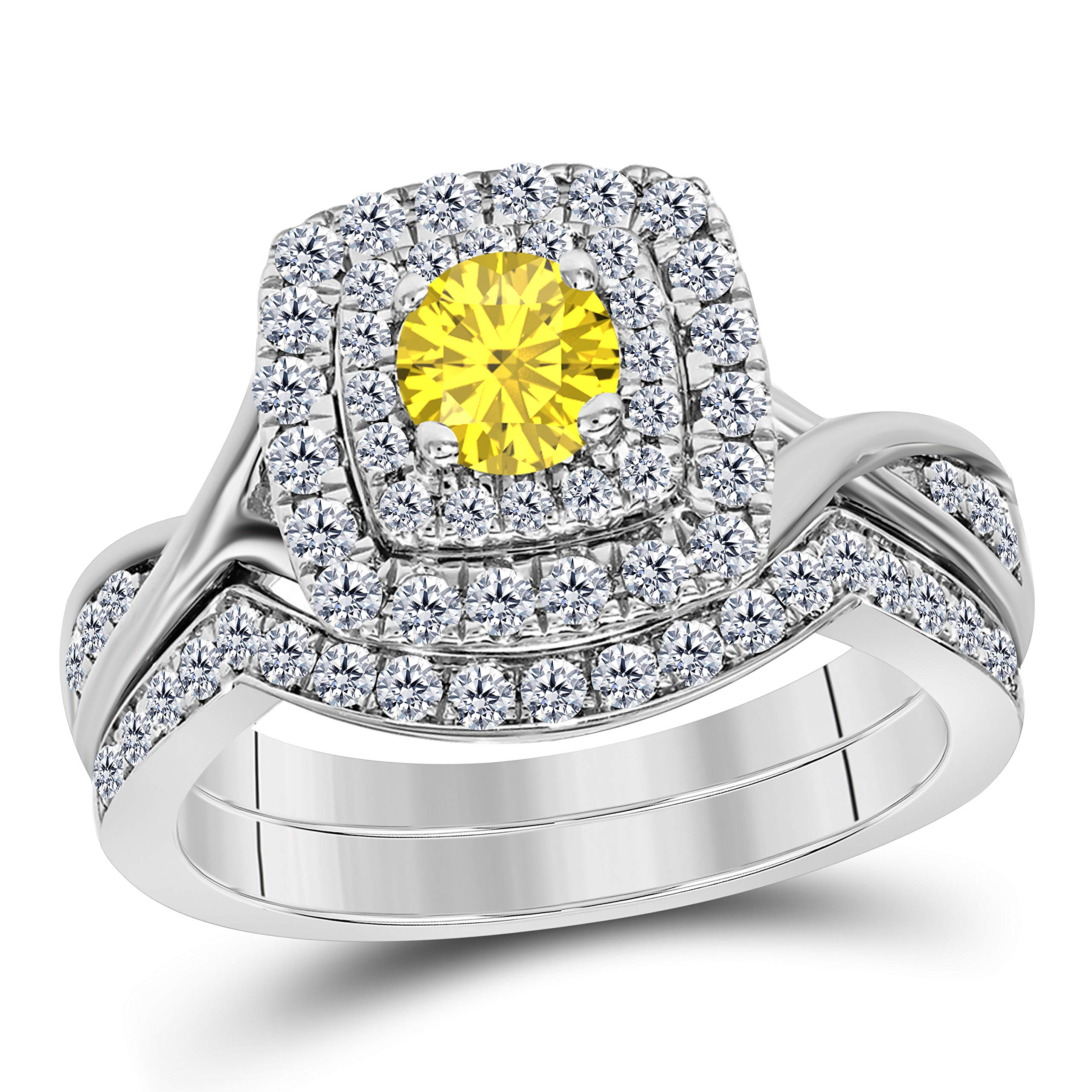 d4bc5347c41 Gems and Jewels Women's 14k Gold Plated Alloy 1.00 Ct Round CZ  Yellow-Sapphire & Cubic Zirconia Curved Wedding Band Split Shank Dubbel  Halo Bridal ...