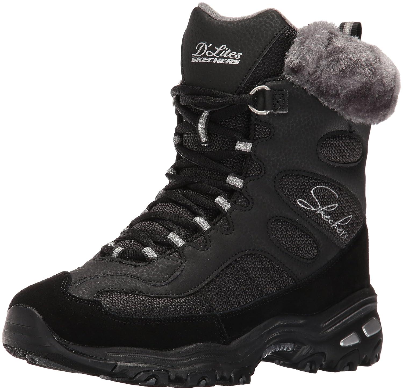 Skechers Women's D'Lites Chalet Faux Fur Collar Winter Boot B01CJ8GSKQ 7.5 B(M) US|Black