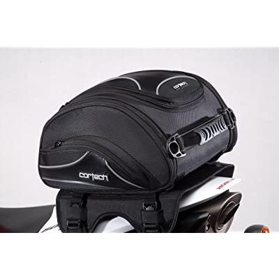 "Cortech Super 2.0 24-Liter Motorcycle Tail Bag - Black / 13.4"" L x 14.2"" W x 7.5"" D: Automotive"