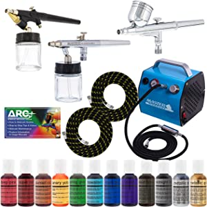 Bakery Airbrush Cake Kit with 3 Airbrushes, Compressor, 2 Air Hoses & 12 Color Chefmaster Food Coloring Set.7 fl Ounce