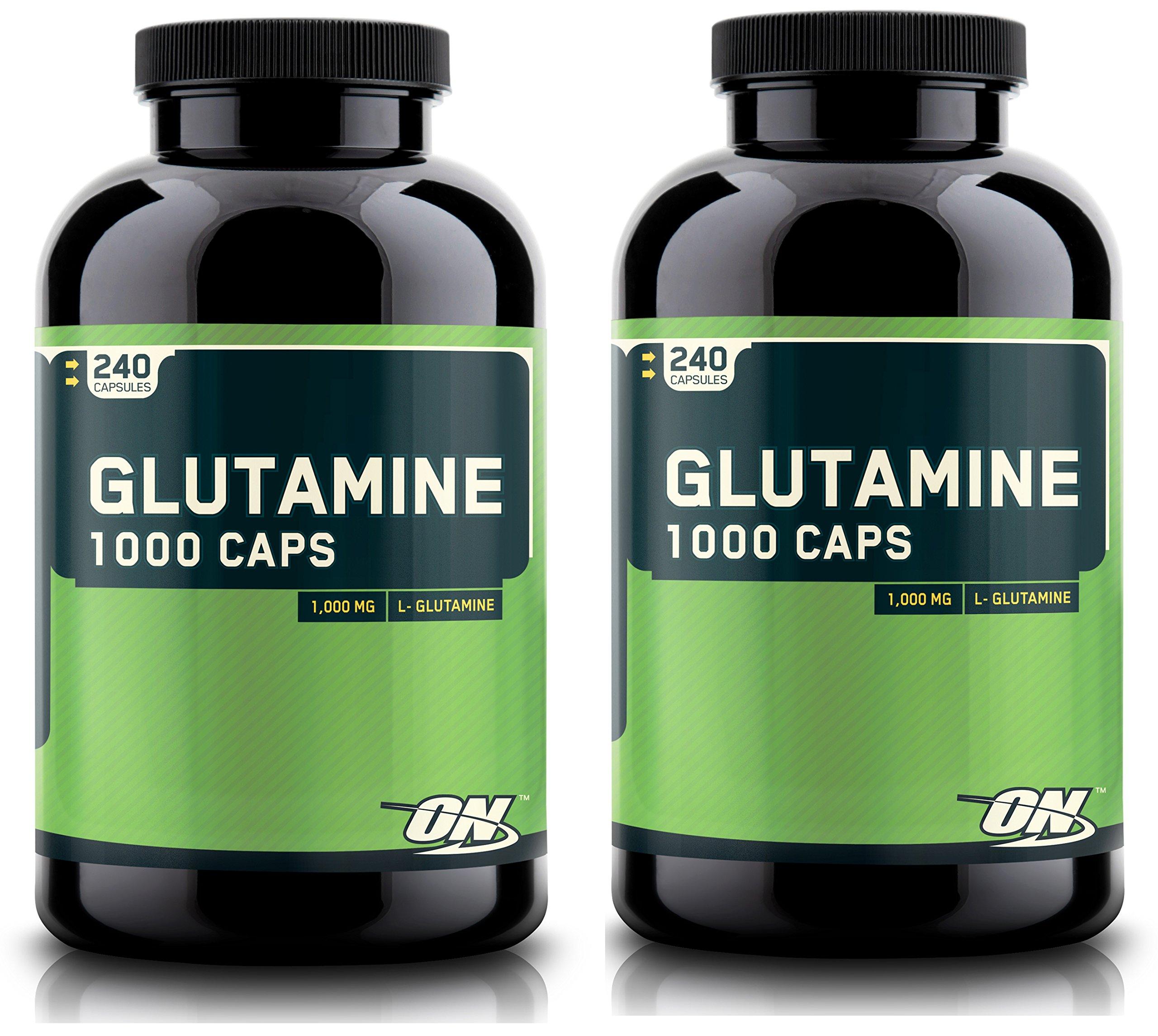 Optimum Nutrition 480 Glutamine Capsules Pure L-Glutamine Recovery Caps, 1000MG