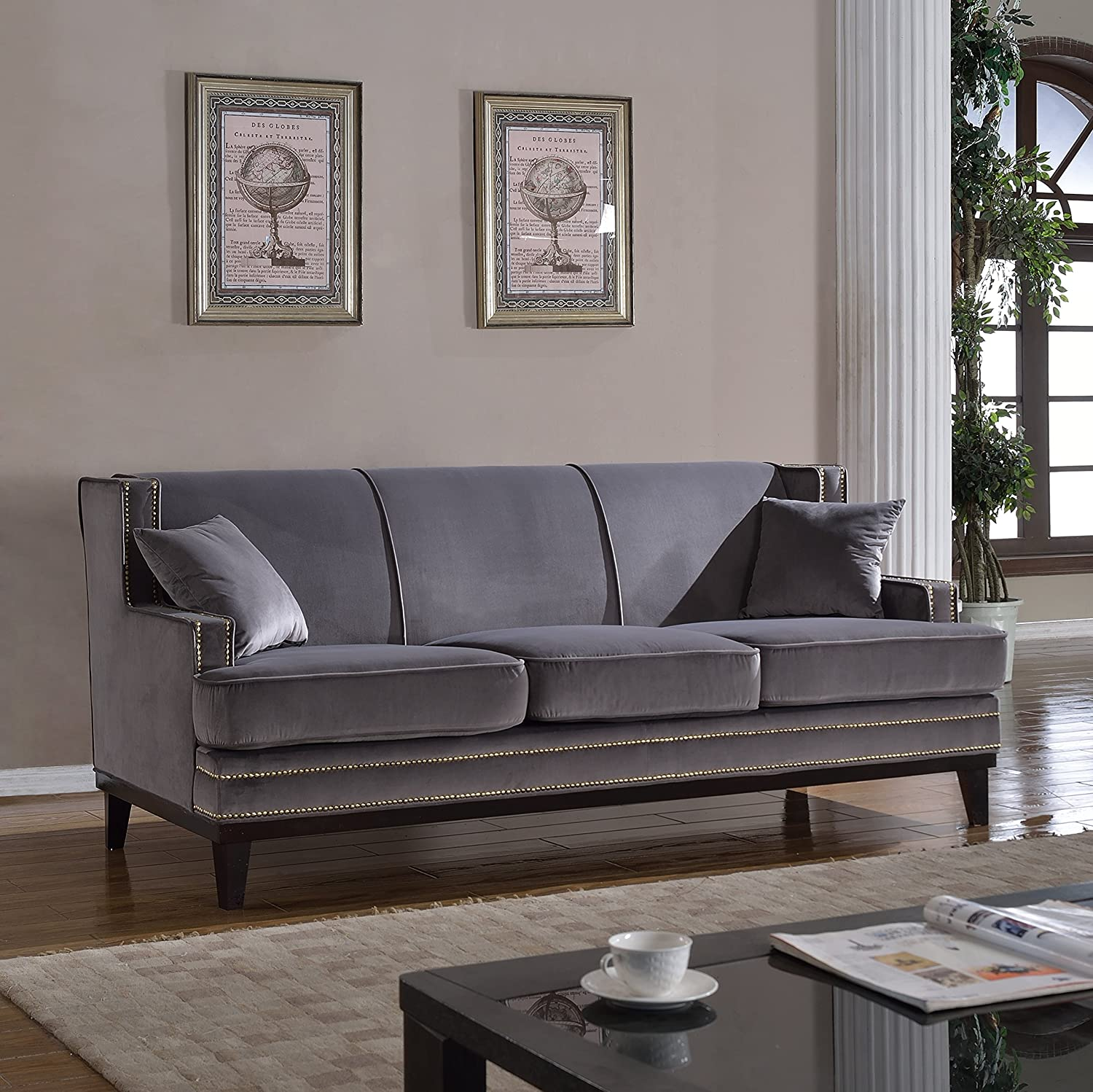 Amazon Classic Traditional Soft Velvet Sofa with Nailhead