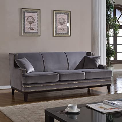 Classic Traditional Soft Velvet Sofa With Nailhead Trim Details Color Grey,  Blue (Grey)